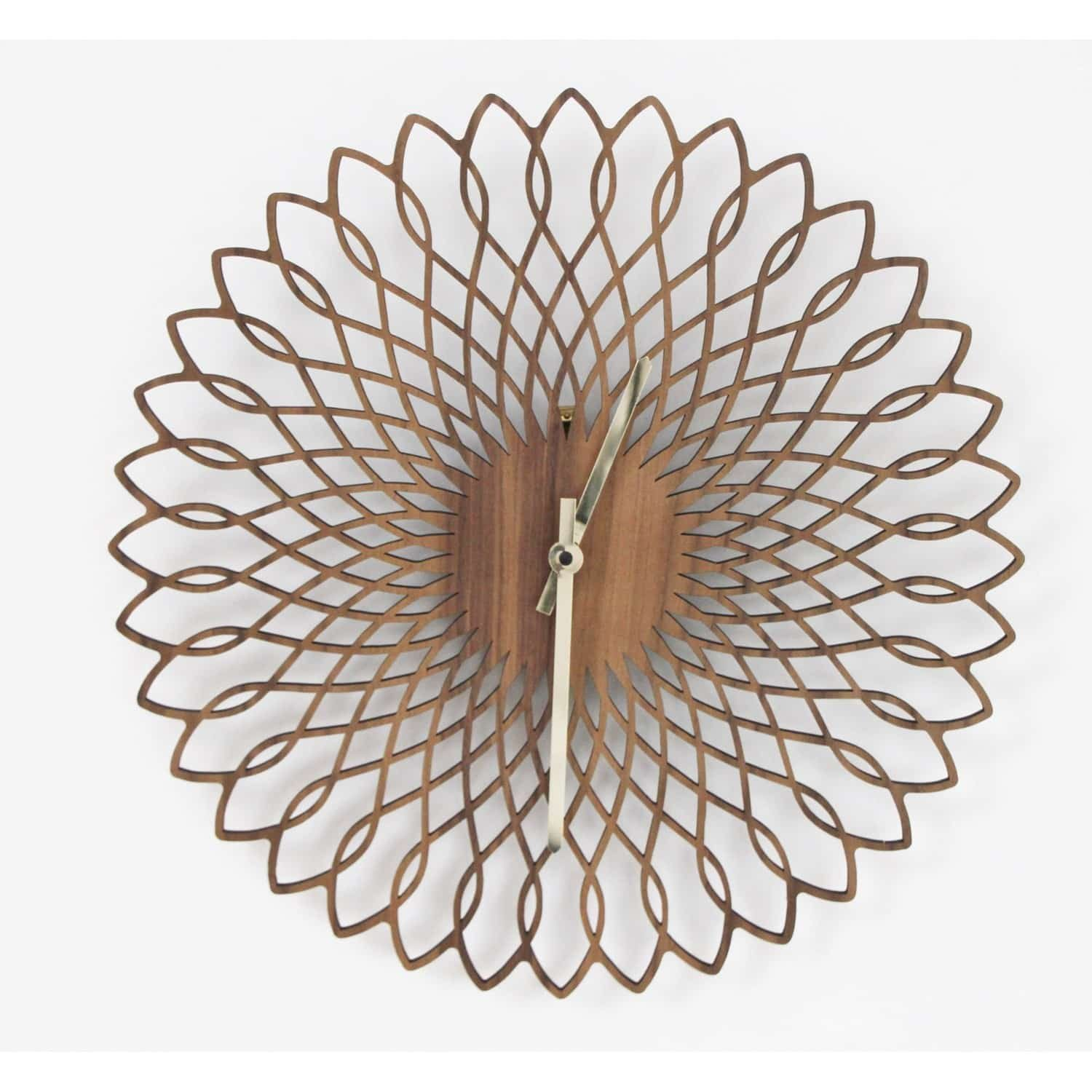 spirograph laser cut walnut clock