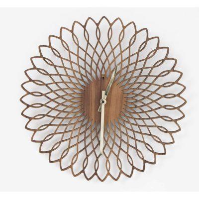 spirograph laser cut walnut clock