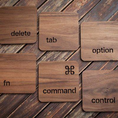 Geek Mac keyboard walnut drinks coasters