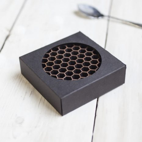 Walnut honeycomb drinks coasters, geometric, gift boxed