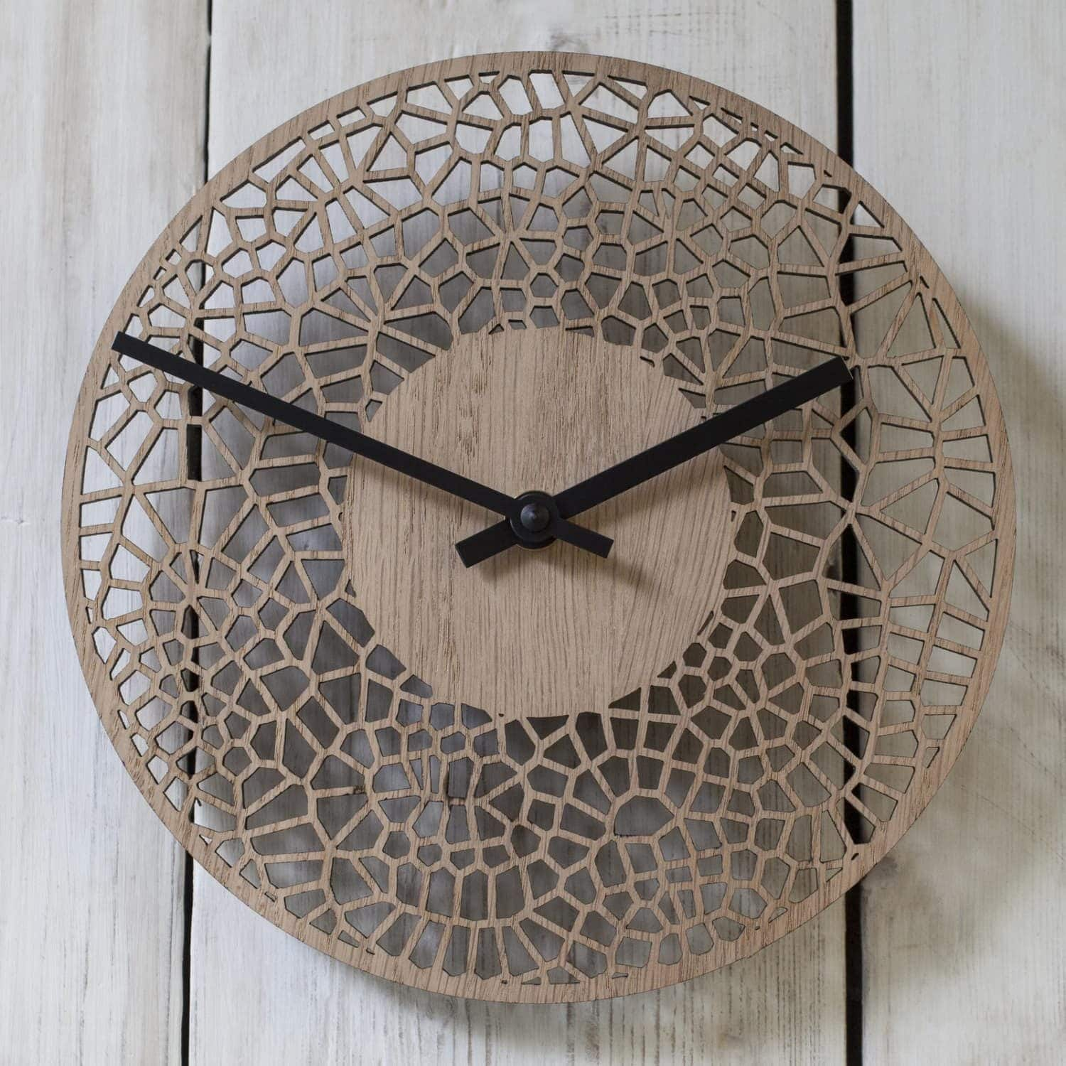 Contemporary small CELL CLOCK (20cm) - real wood veneer - oak or walnut
