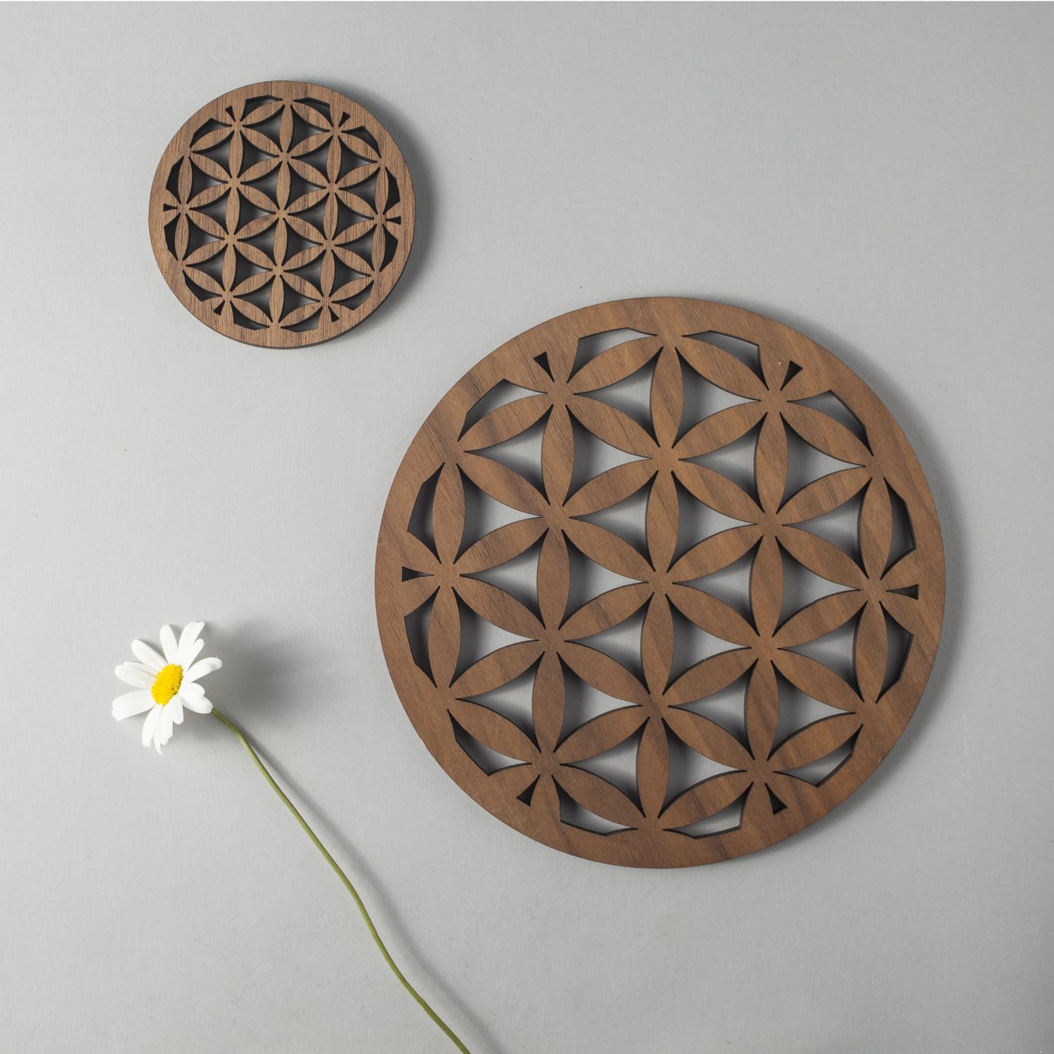 seed of life walnut coaster sacred geometry