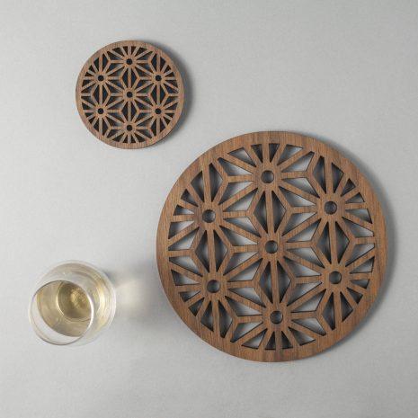 Asanoha pattern walnut drinks coasters, geometric design