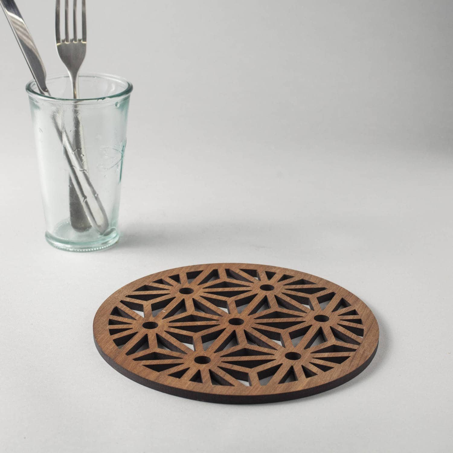 Asanoha pattern walnut drinks coasters, geometric design