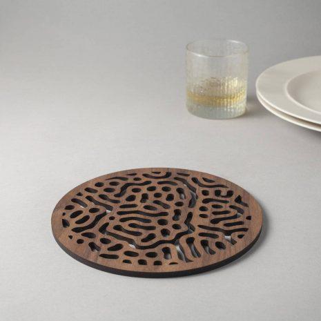 Bacteria pattern walnut drinks coasters, microscope