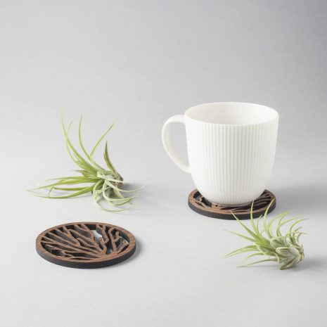 Coral pattern walnut drinks coasters, underwater nature design