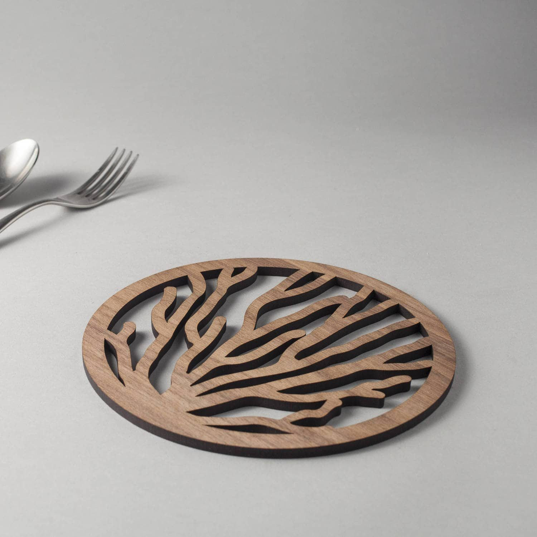 Coral pattern walnut drinks coasters, underwater nature design