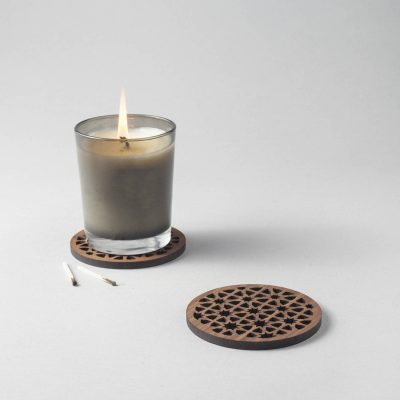 Moroccan pattern walnut drinks coasters, geometric