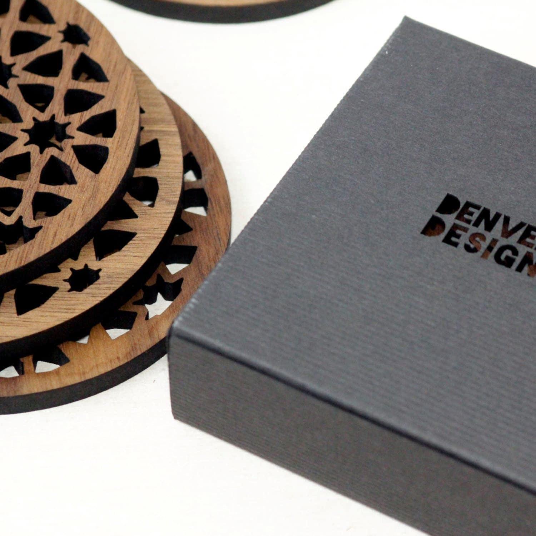 Moroccan pattern walnut drinks coasters, geometric