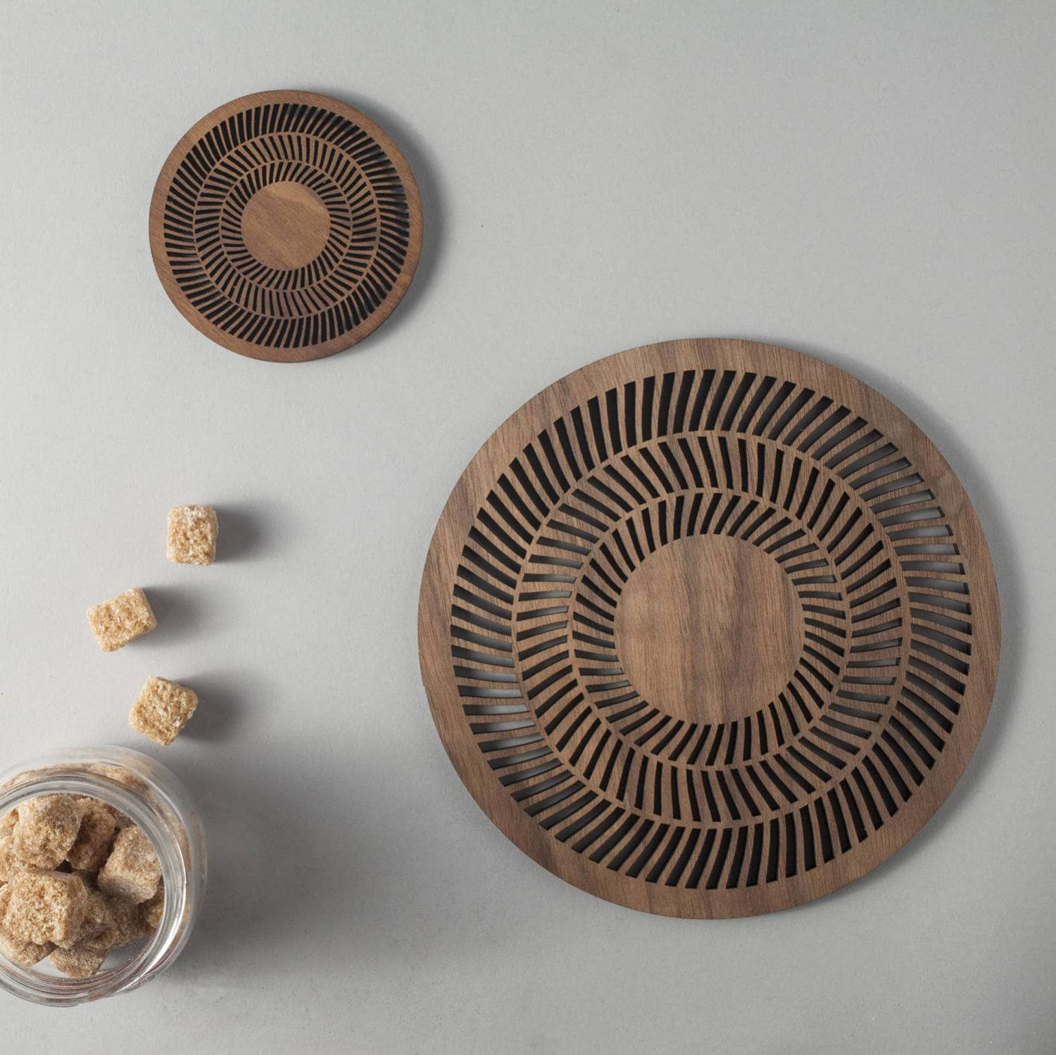 Op Art walnut drinks coasters, op-art