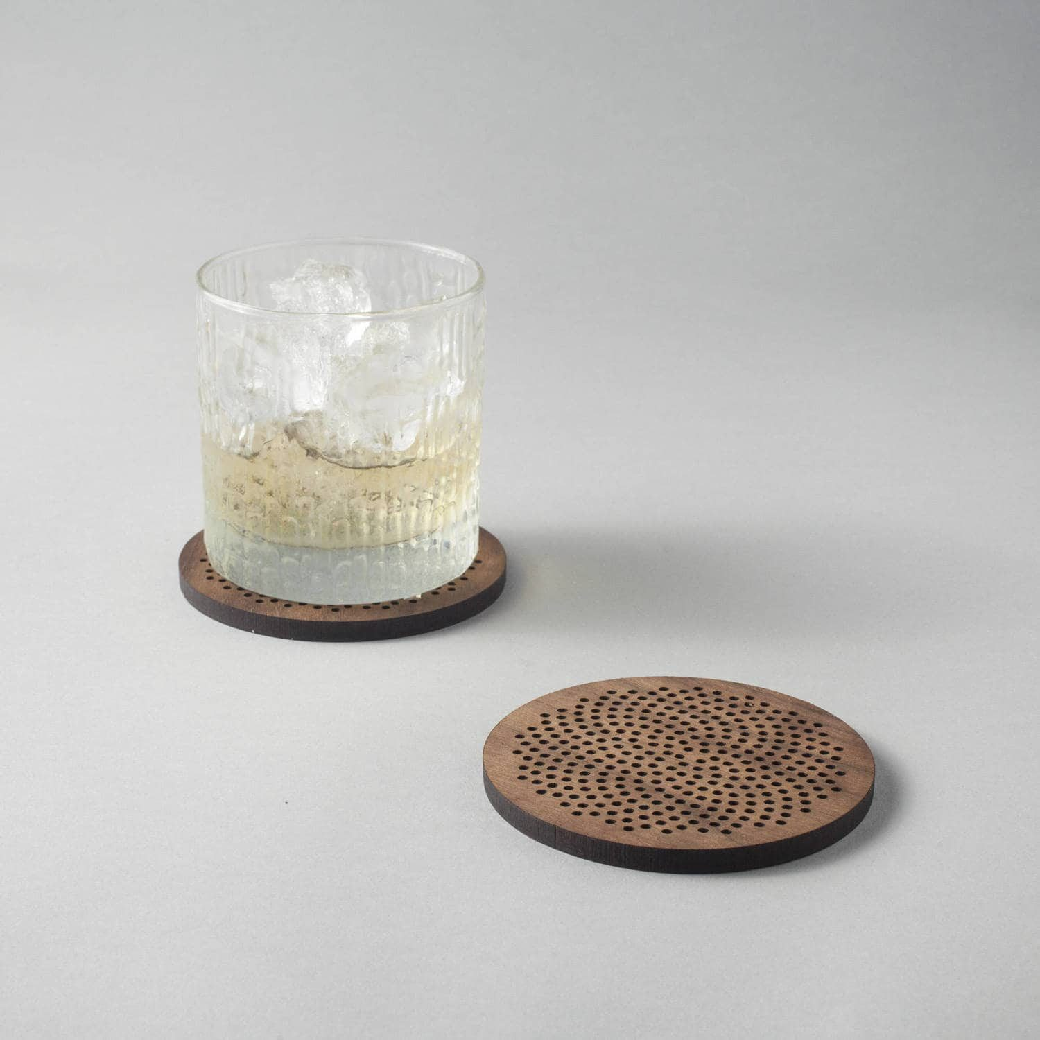 Sunflower pattern walnut drinks coasters, phyllotaxis spiral