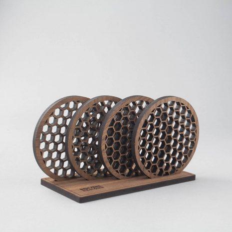 Trigrid pattern walnut drinks coasters, geometry