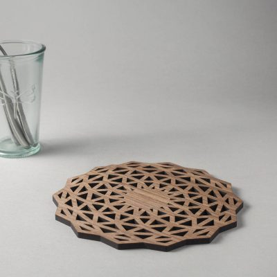 Whisky (complex) walnut drinks coasters, geometric