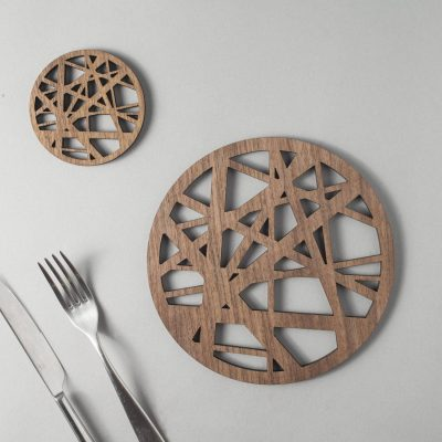 Birds nest - wood coasters - ornithology
