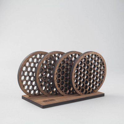 Wood coaster holder
