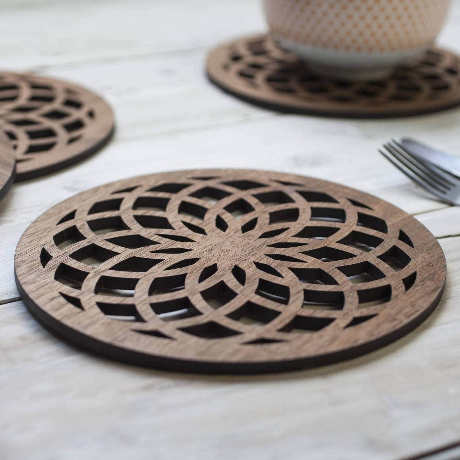 Flower Of Life walnut drinks coasters, sacred geometry