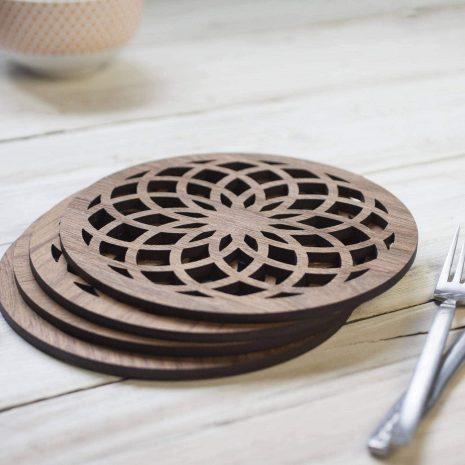 Flower Of Life walnut drinks coasters, sacred geometry