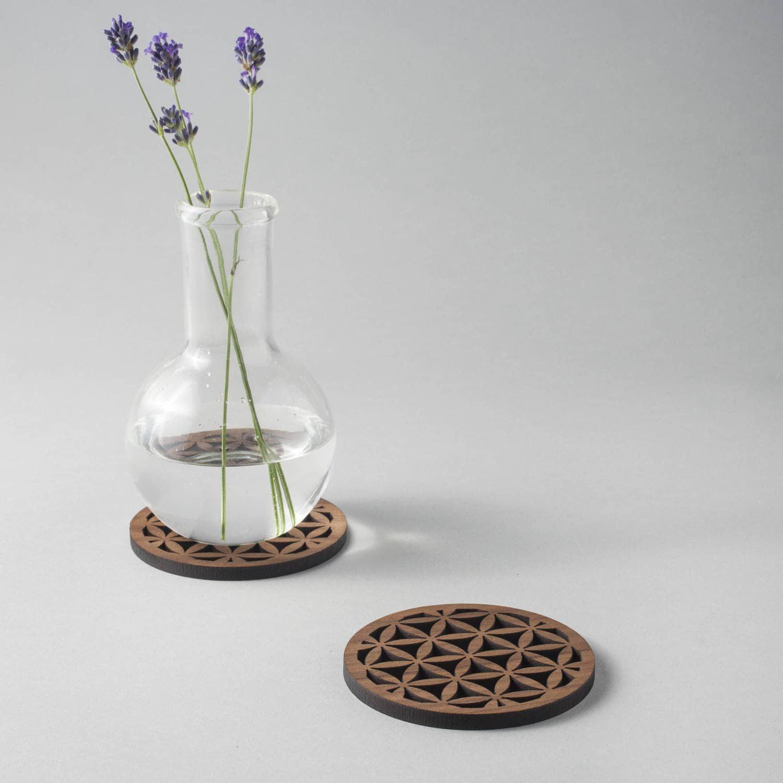 "Walnut ""Seed of life"" drinks coasters, geometric"