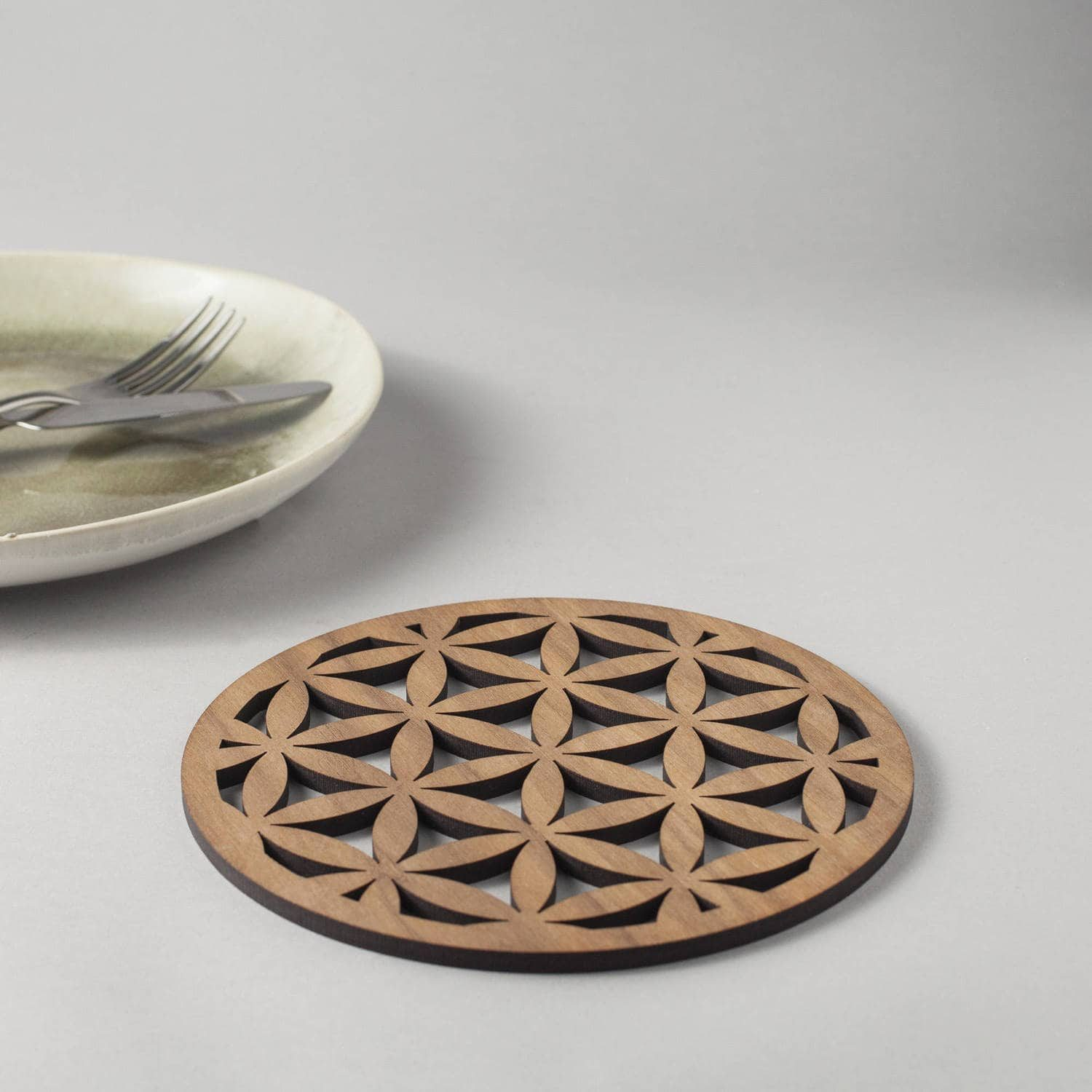 "Walnut ""Seed of life"" drinks coasters, geometric"